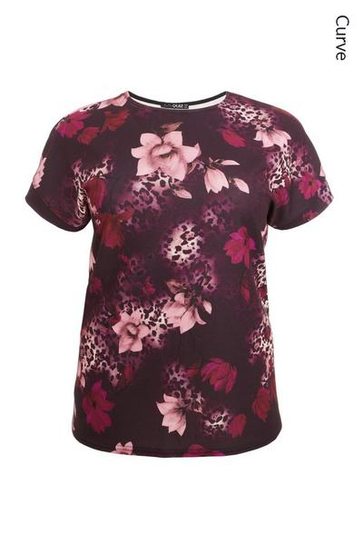 Curve Berry Floral Boxy Top